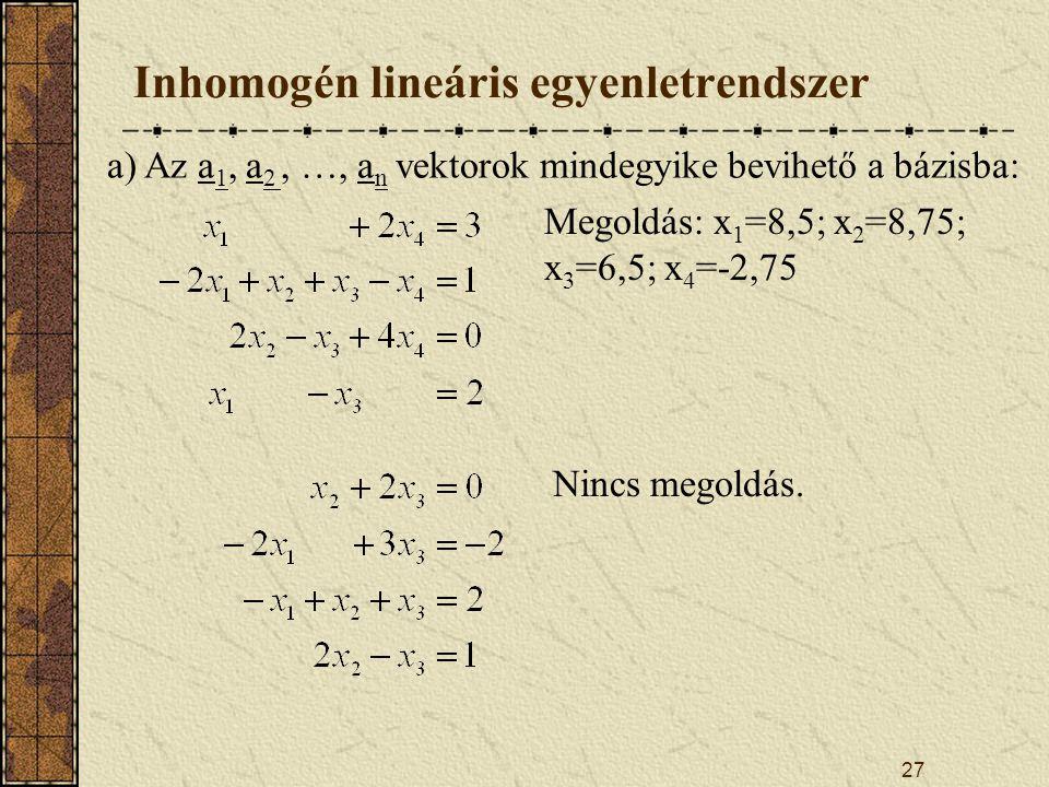 Inhomogén lineáris egyenletrendszer