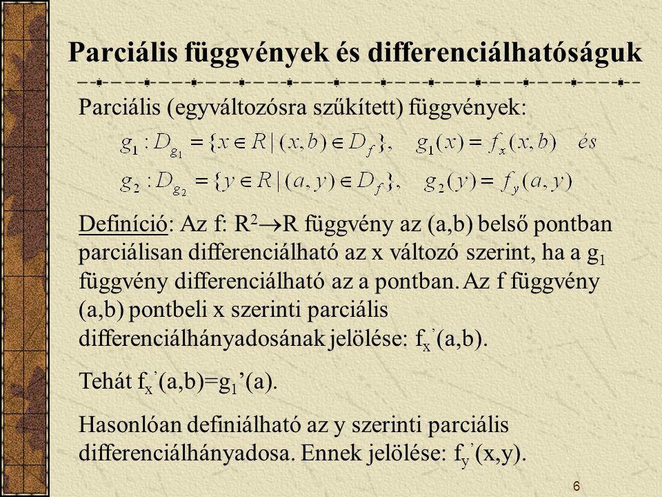 Parciális függvények és differenciálhatóságuk