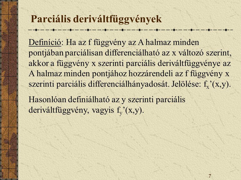 Parciális deriváltfüggvények