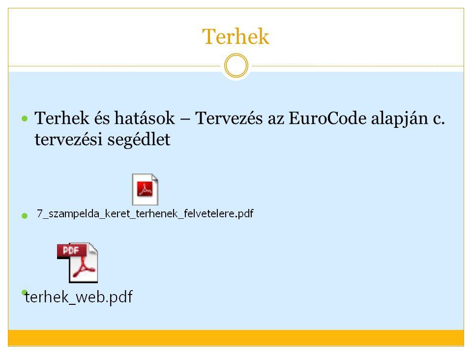 Terhek Terhek és hatások – Tervezés az EuroCode alapján c. tervezési segédlet