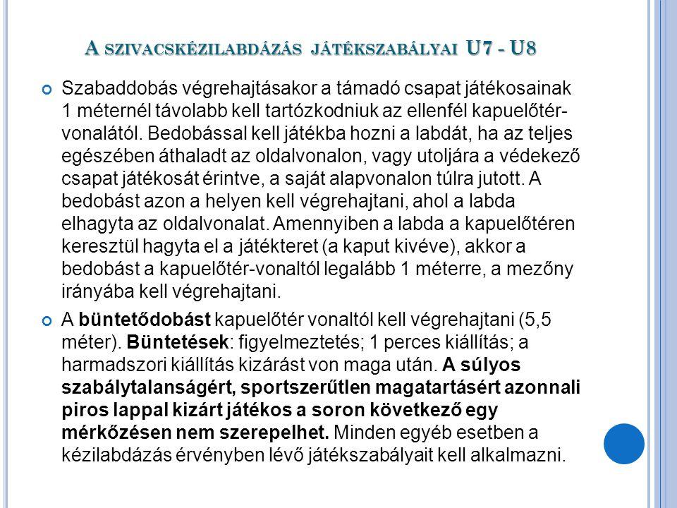 A szivacskézilabdázás játékszabályai U7 - U8