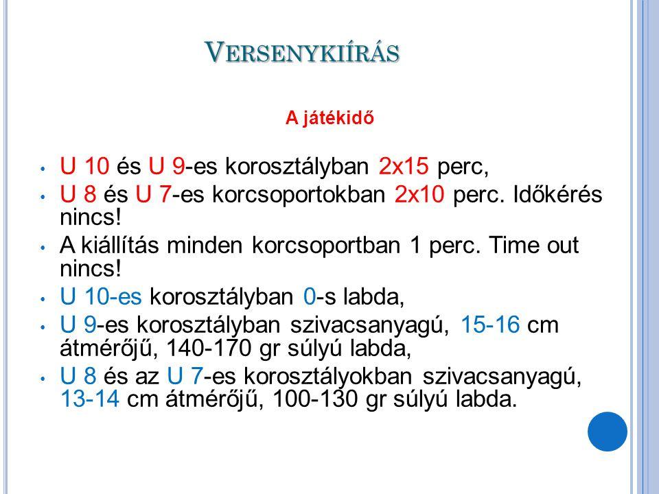 Versenykiírás U 10 és U 9-es korosztályban 2x15 perc,