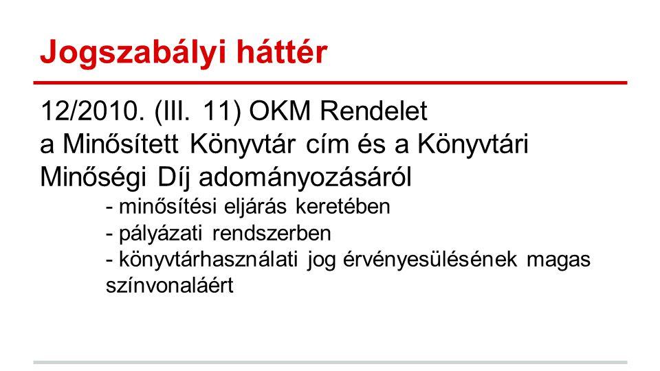 Jogszabályi háttér 12/2010. (III. 11) OKM Rendelet