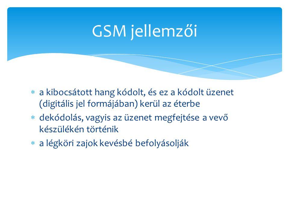 GSM jellemzői a kibocsátott hang kódolt, és ez a kódolt üzenet (digitális jel formájában) kerül az éterbe.