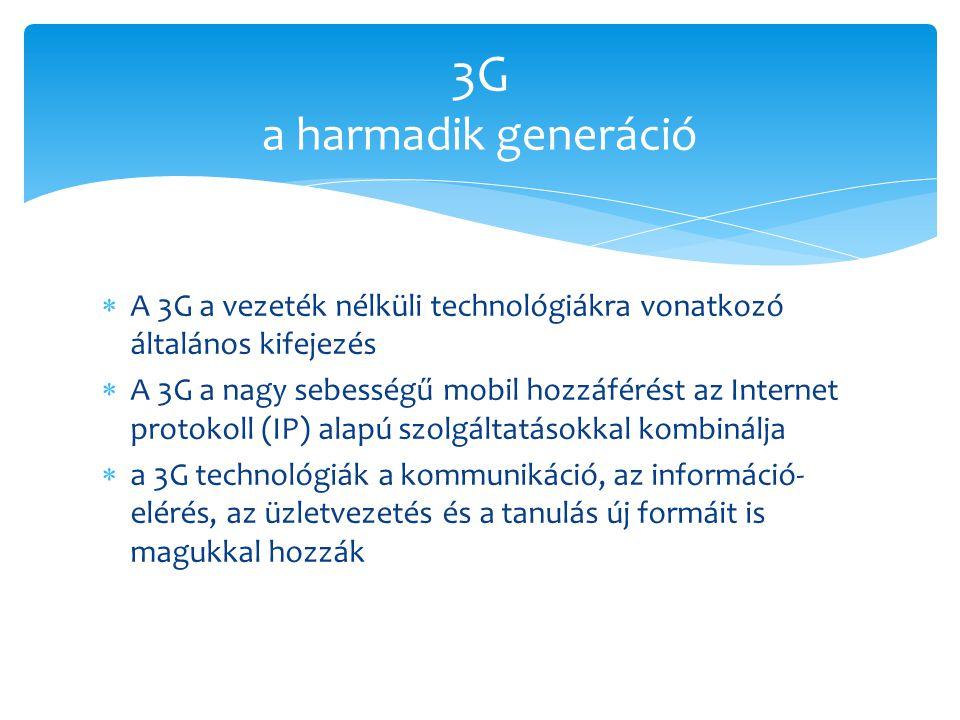 3G a harmadik generáció A 3G a vezeték nélküli technológiákra vonatkozó általános kifejezés.