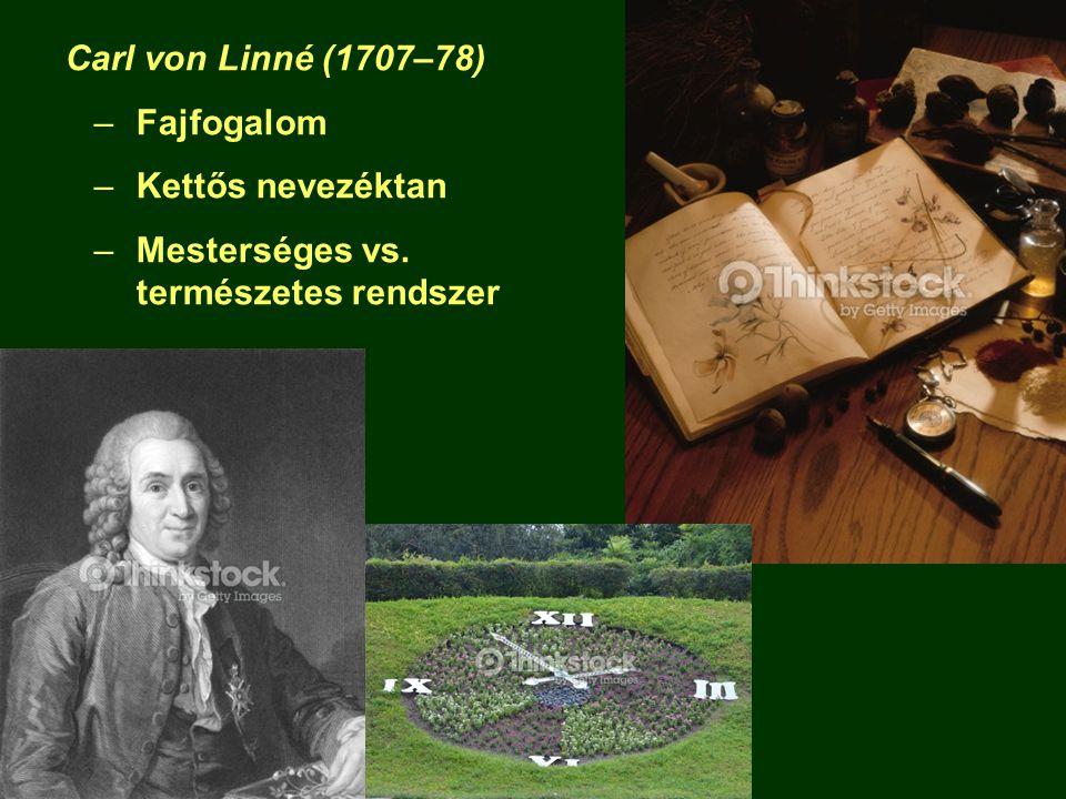 Carl von Linné (1707–78) Fajfogalom Kettős nevezéktan Mesterséges vs. természetes rendszer