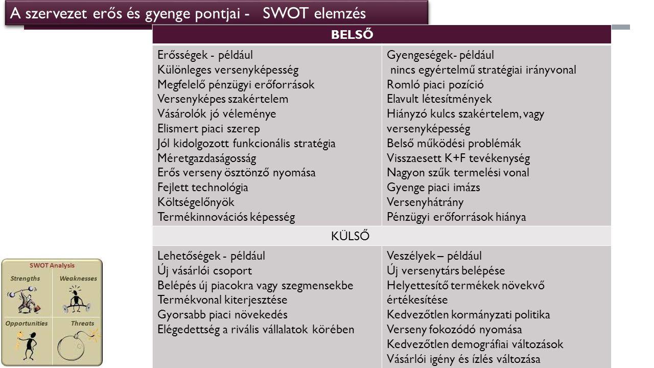 A szervezet erős és gyenge pontjai - SWOT elemzés
