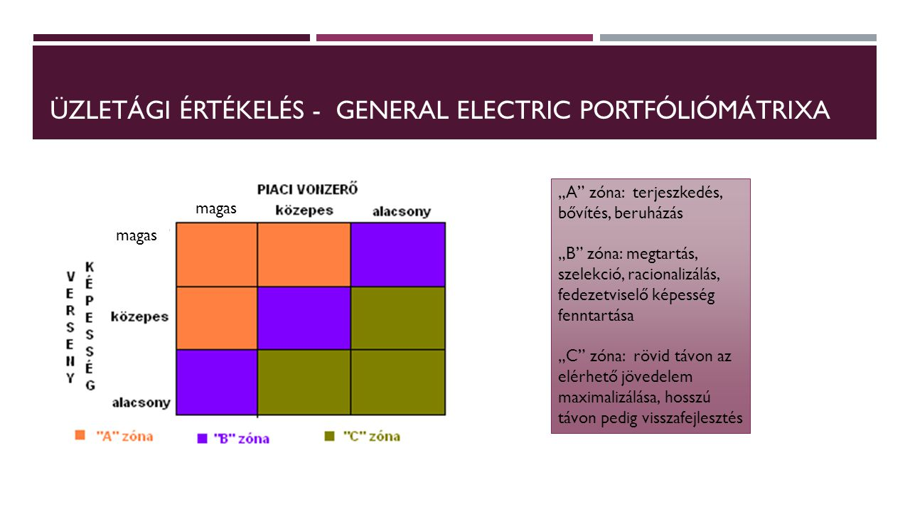 Üzletági értékelés - General electric portfóliómátrixa