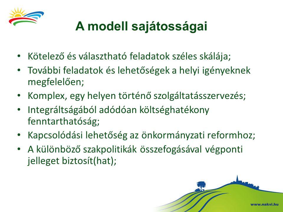 A modell sajátosságai Kötelező és választható feladatok széles skálája; További feladatok és lehetőségek a helyi igényeknek megfelelően;