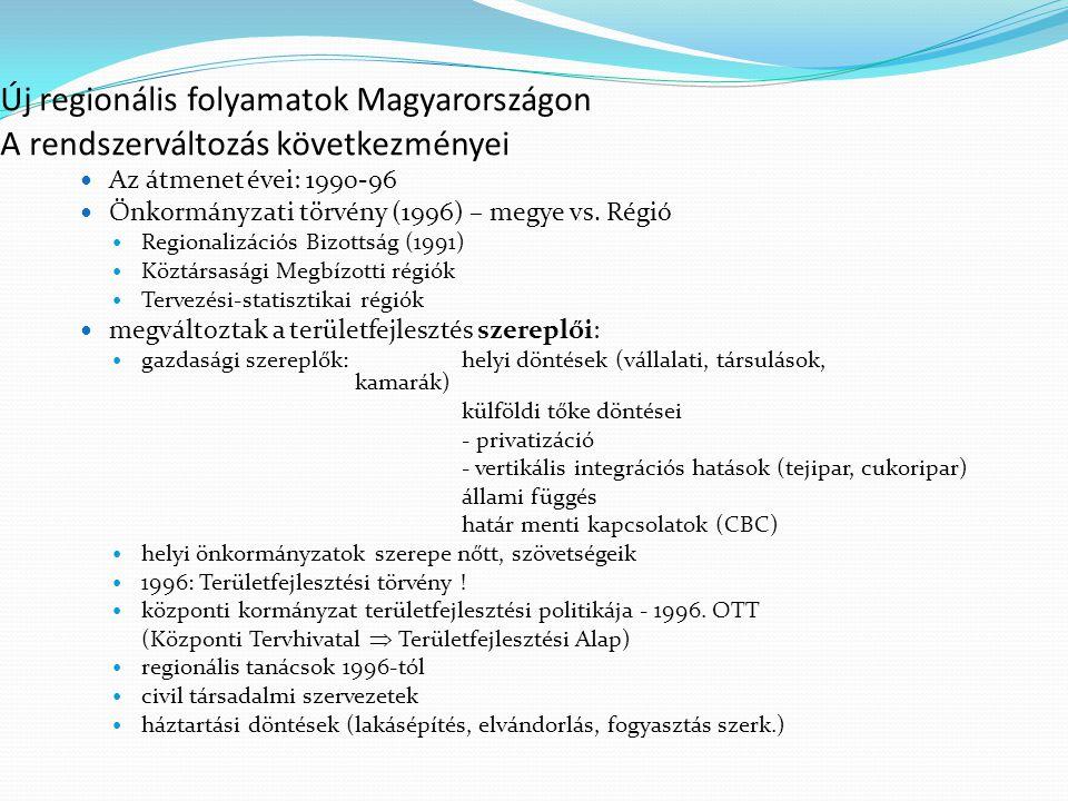 Új regionális folyamatok Magyarországon A rendszerváltozás következményei