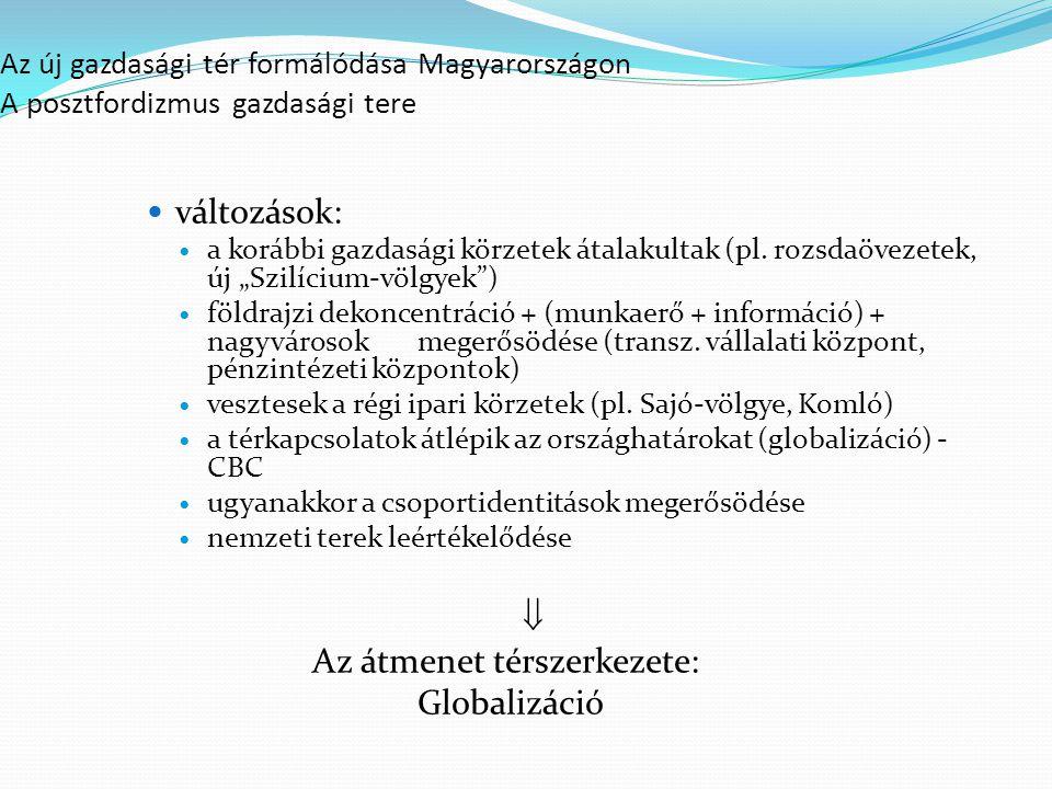 Az átmenet térszerkezete: Globalizáció