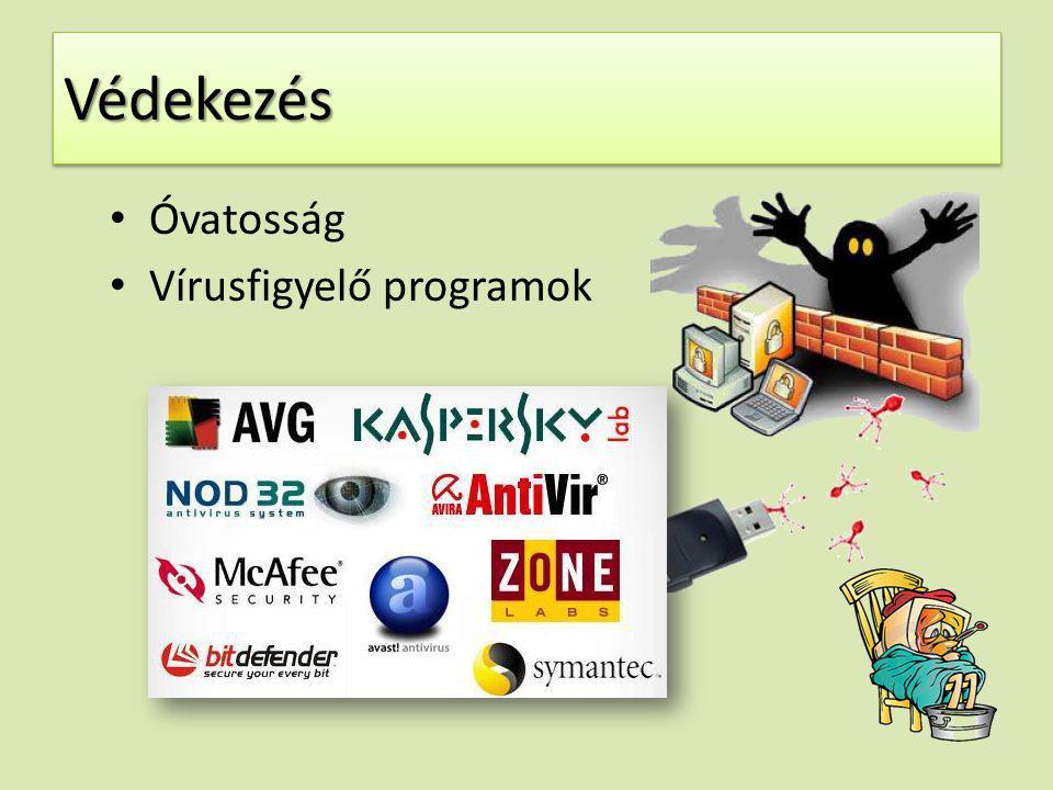 Védekezés Óvatosság Vírusfigyelő programok
