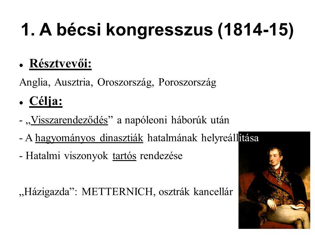 1. A bécsi kongresszus (1814-15)