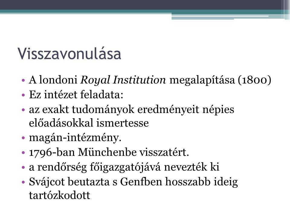 Visszavonulása A londoni Royal Institution megalapítása (1800)