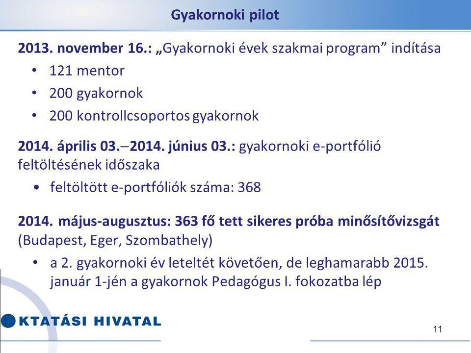 """Gyakornoki pilot 2013. november 16.: """"Gyakornoki évek szakmai program indítása. 121 mentor. 200 gyakornok."""