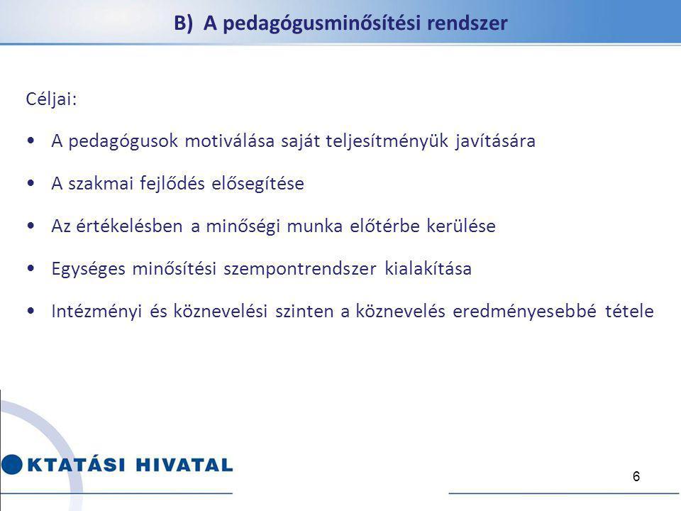 B) A pedagógusminősítési rendszer