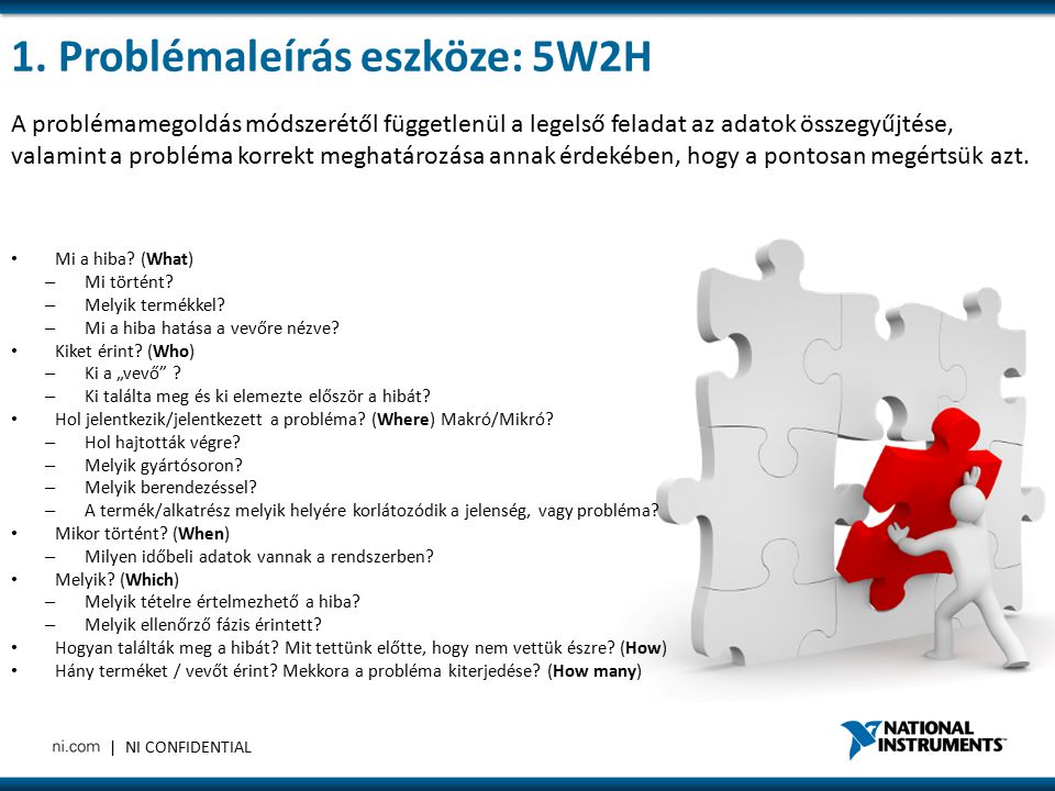 1. Problémaleírás eszköze: 5W2H
