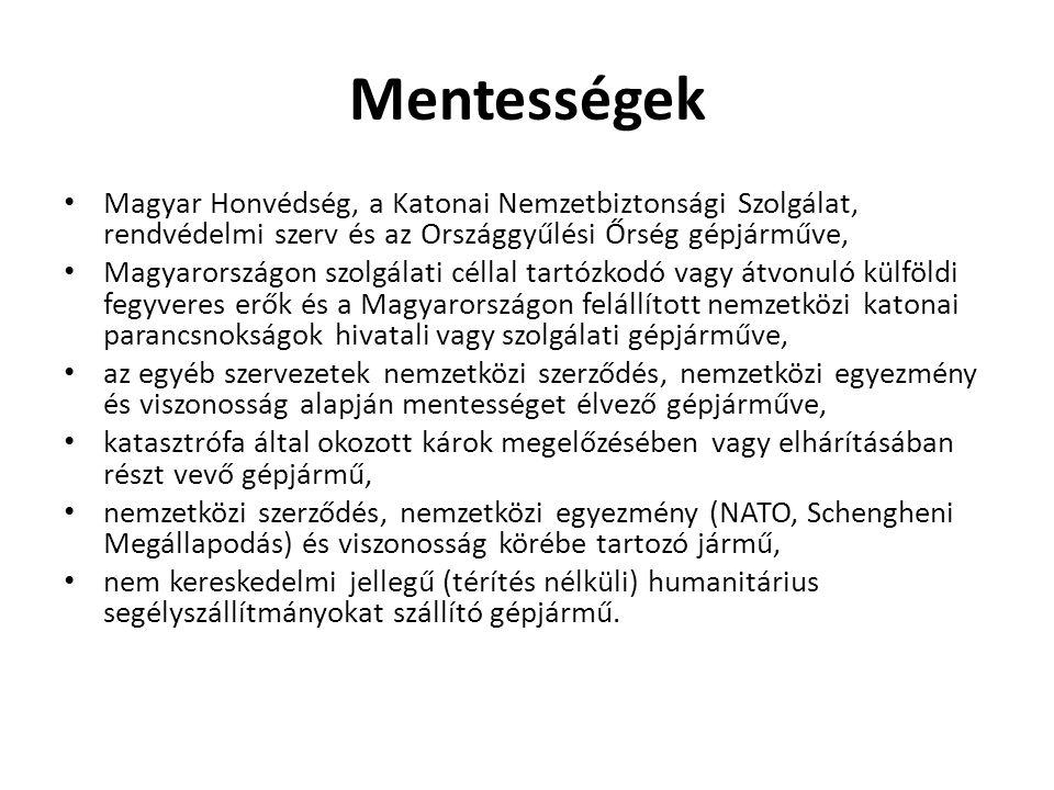 Mentességek Magyar Honvédség, a Katonai Nemzetbiztonsági Szolgálat, rendvédelmi szerv és az Országgyűlési Őrség gépjárműve,