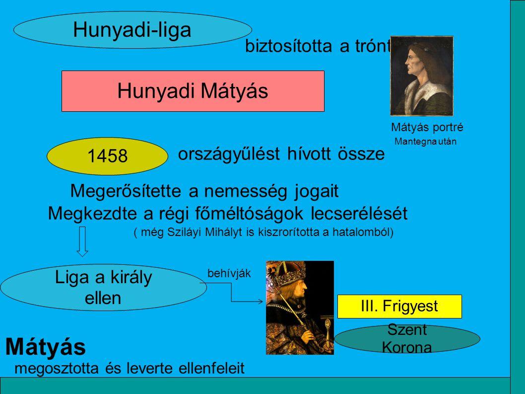 Mátyás Hunyadi-liga Hunyadi Mátyás biztosította a trónt 1458