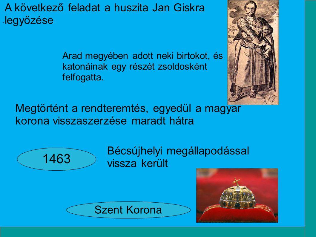 1463 A következő feladat a huszita Jan Giskra legyőzése