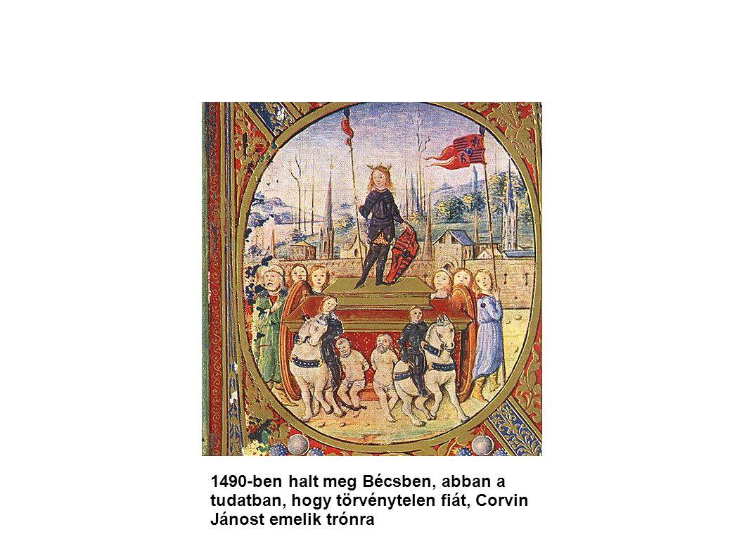 1490-ben halt meg Bécsben, abban a tudatban, hogy törvénytelen fiát, Corvin Jánost emelik trónra