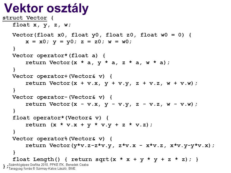 Vektor osztály struct Vector { float x, y, z, w;