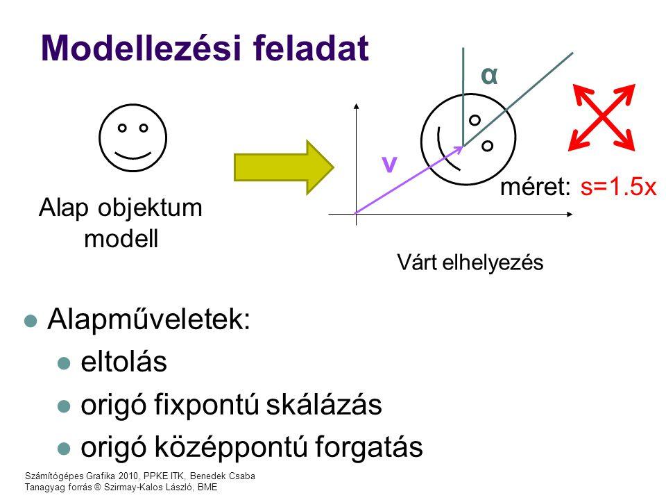 Modellezési feladat α v Alapműveletek: eltolás origó fixpontú skálázás