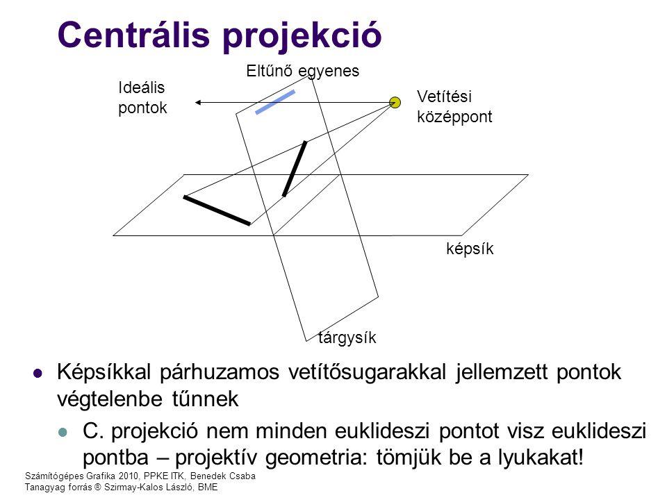 Centrális projekció Eltűnő egyenes. Ideális. pontok. Vetítési. középpont. képsík. tárgysík.