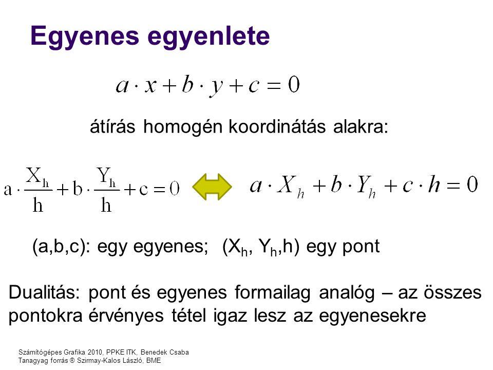Egyenes egyenlete átírás homogén koordinátás alakra: