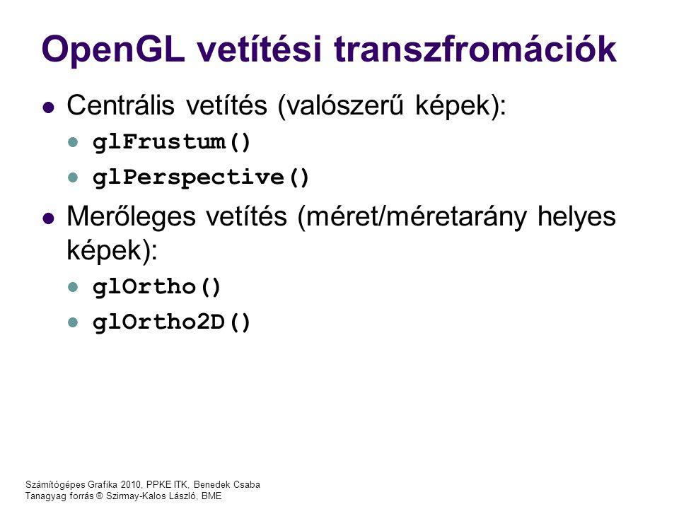 OpenGL vetítési transzfromációk