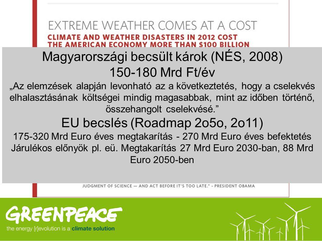 Magyarországi becsült károk (NÉS, 2008) 150-180 Mrd Ft/év