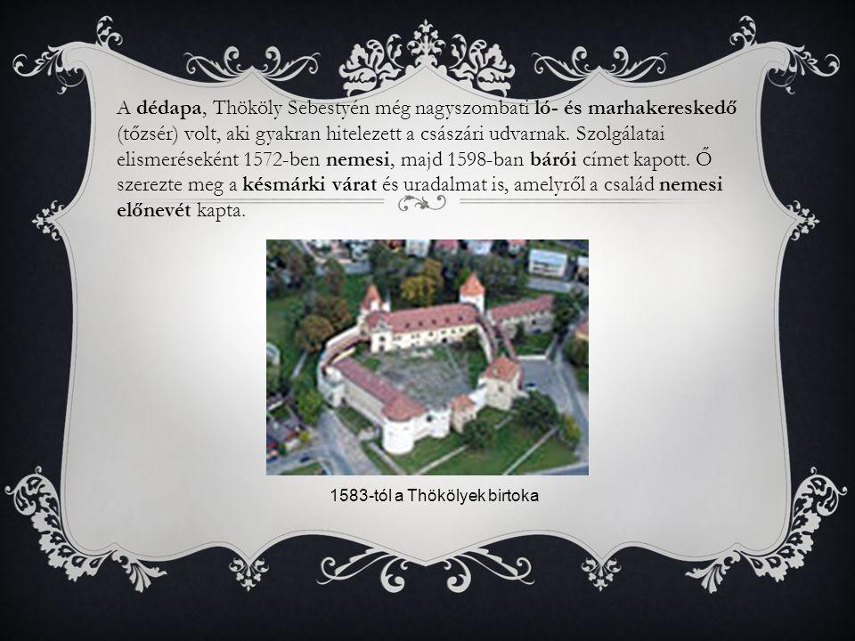 A dédapa, Thököly Sebestyén még nagyszombati ló- és marhakereskedő (tőzsér) volt, aki gyakran hitelezett a császári udvarnak. Szolgálatai elismeréseként 1572-ben nemesi, majd 1598-ban bárói címet kapott. Ő szerezte meg a késmárki várat és uradalmat is, amelyről a család nemesi előnevét kapta.
