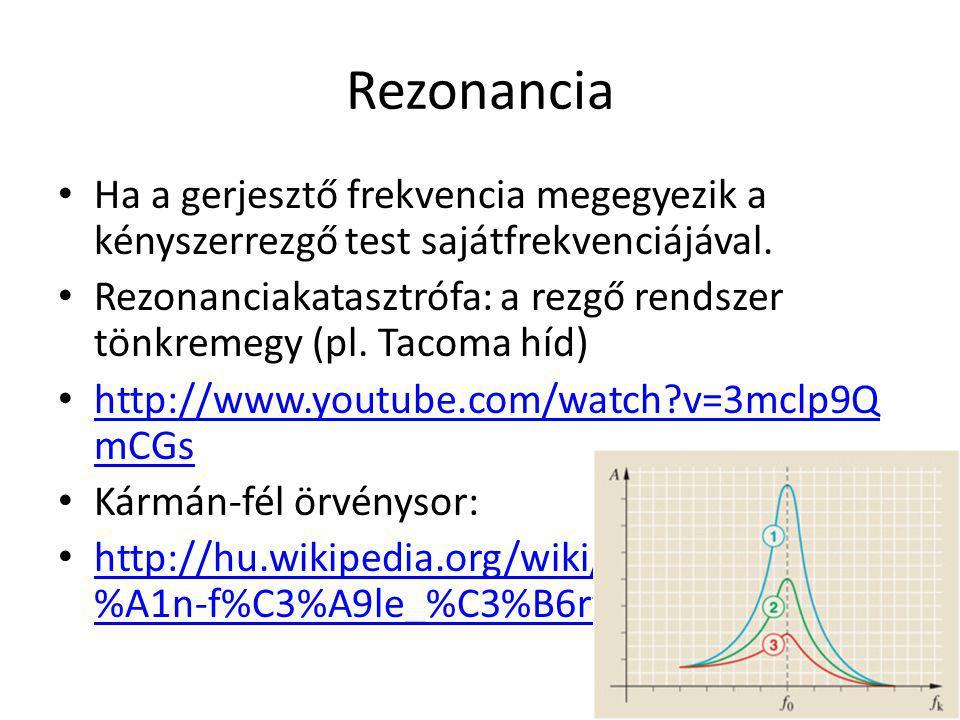 Rezonancia Ha a gerjesztő frekvencia megegyezik a kényszerrezgő test sajátfrekvenciájával.