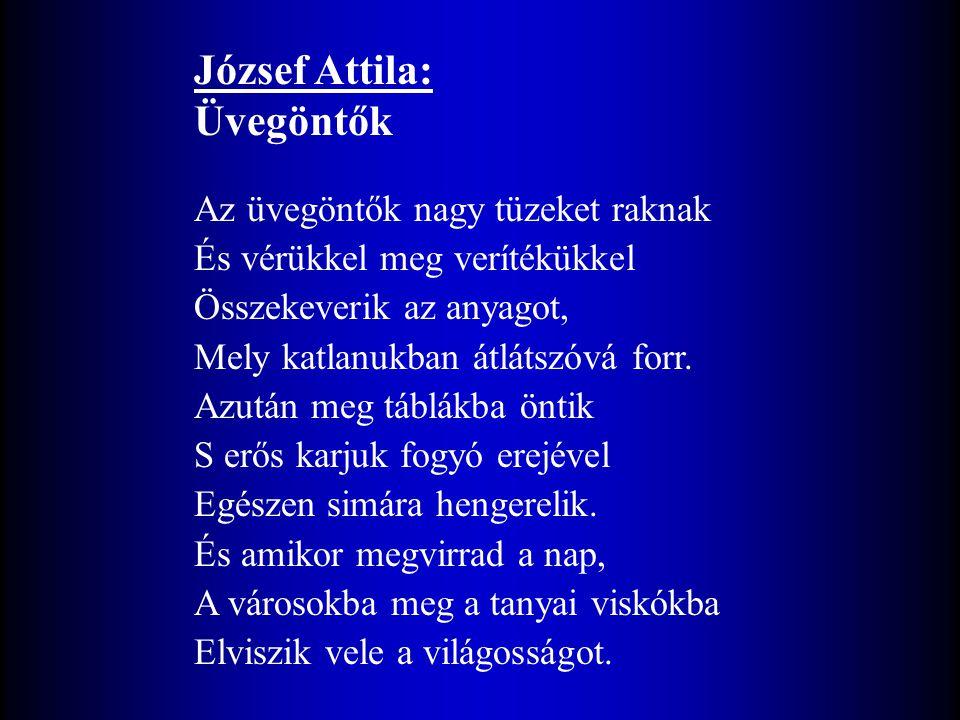 József Attila: Üvegöntők Az üvegöntők nagy tüzeket raknak