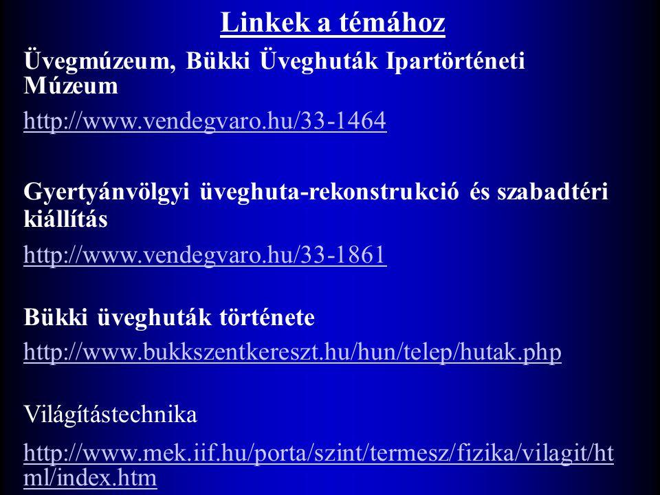 Linkek a témához Üvegmúzeum, Bükki Üveghuták Ipartörténeti Múzeum