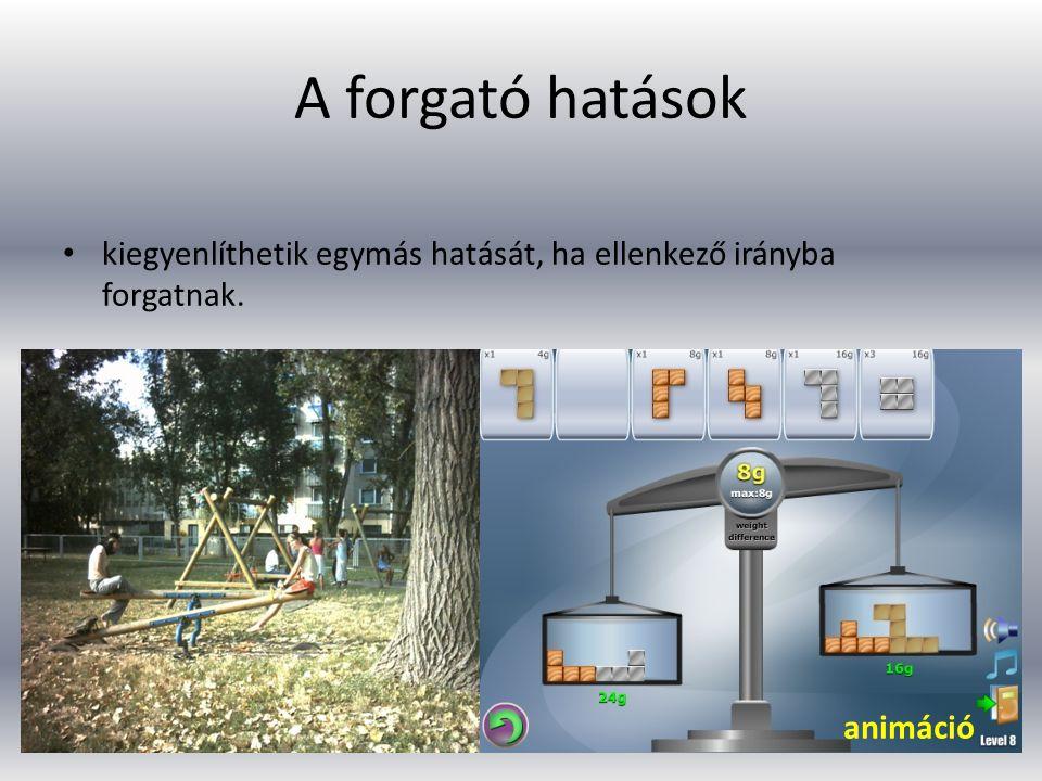 A forgató hatások kiegyenlíthetik egymás hatását, ha ellenkező irányba forgatnak. http://www.kongregate.com/games/NothingCasual/libra.