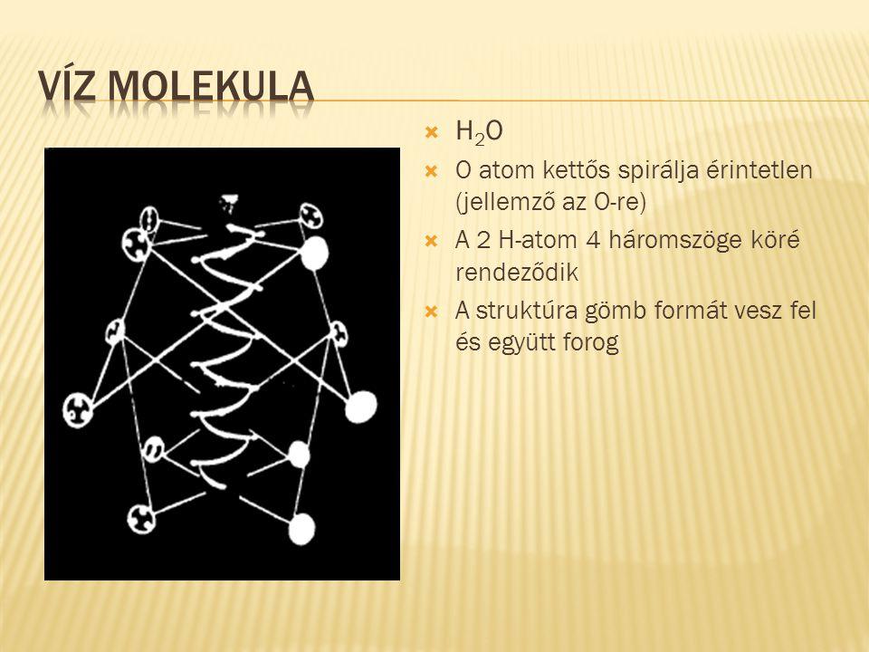 Víz molekula H2O O atom kettős spirálja érintetlen (jellemző az O-re)
