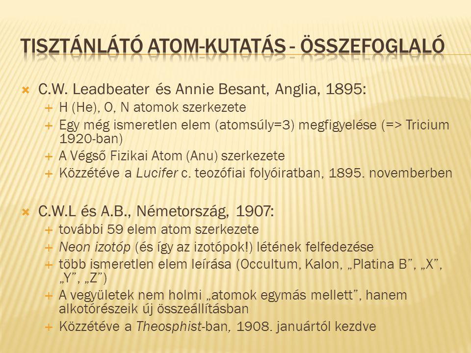 Tisztánlátó atom-kutatás - Összefoglaló