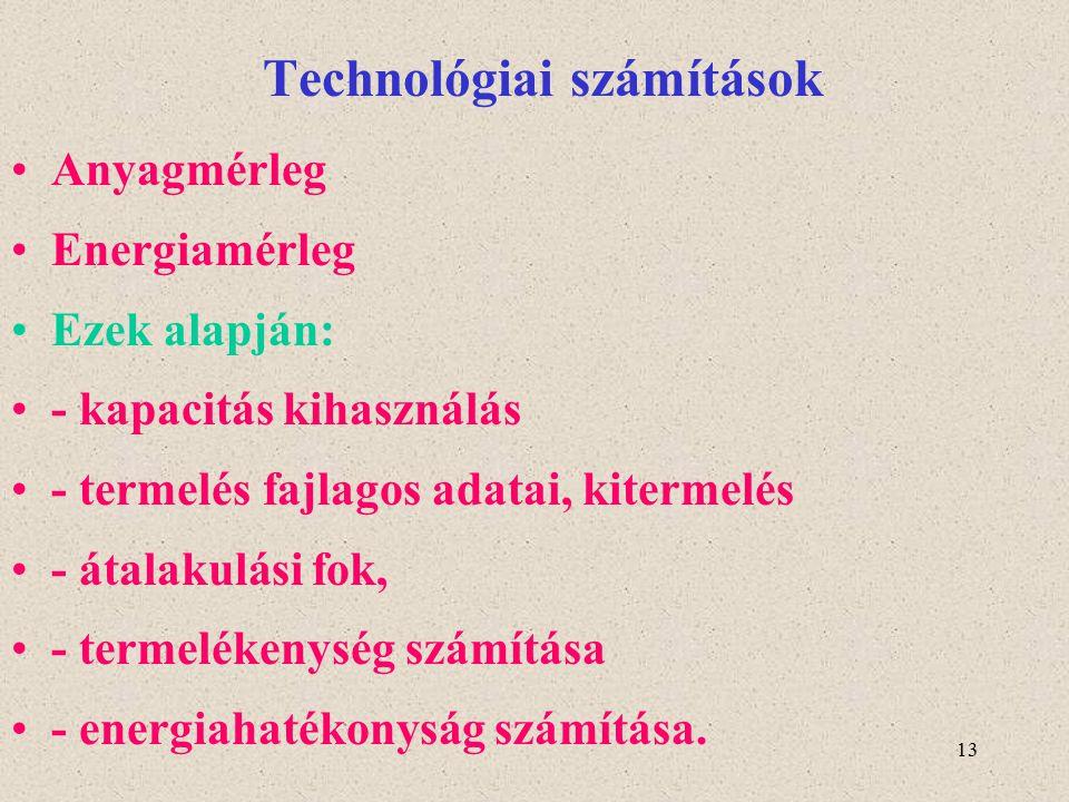 Technológiai számítások
