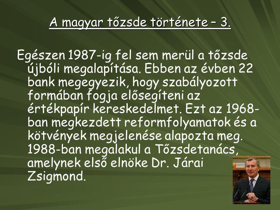 A magyar tőzsde története – 3.