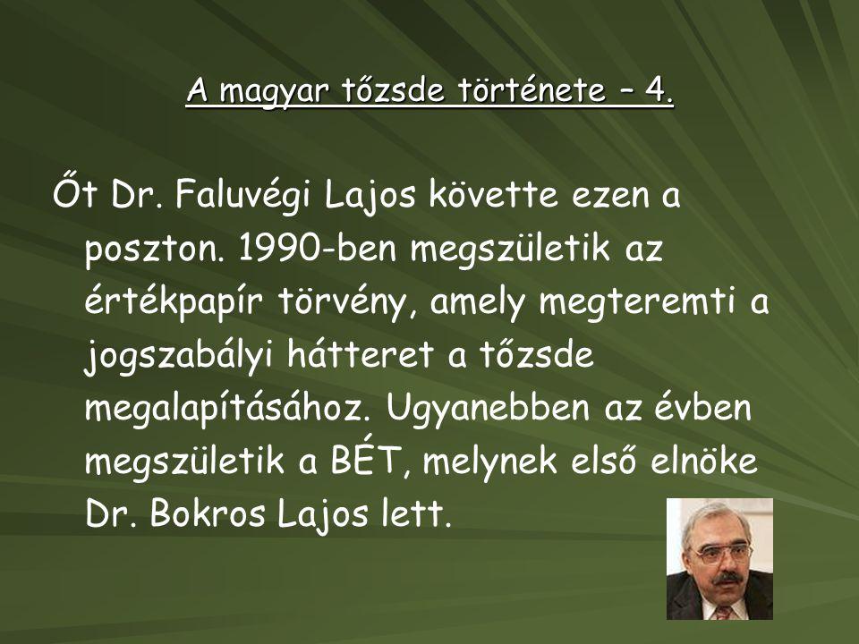 A magyar tőzsde története – 4.