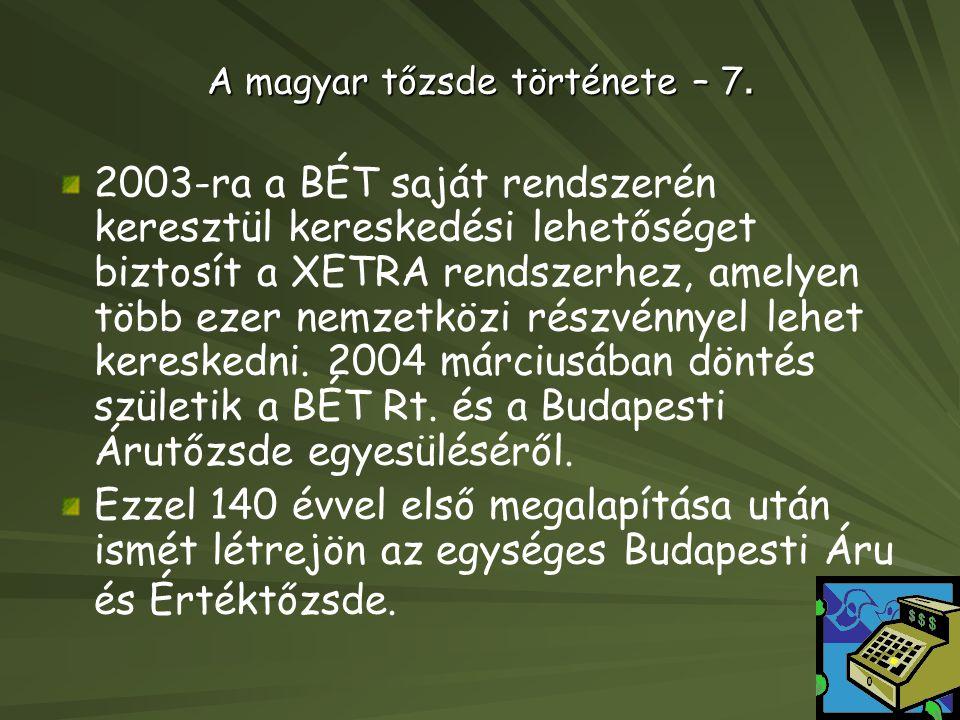 A magyar tőzsde története – 7.