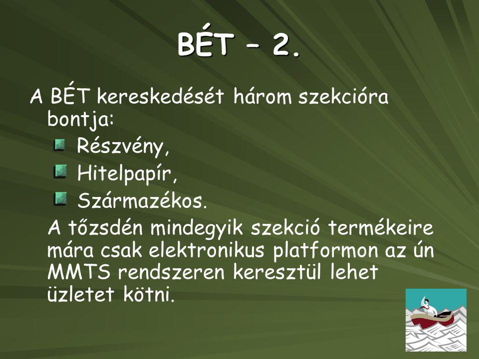 BÉT – 2. A BÉT kereskedését három szekcióra bontja: Hitelpapír,