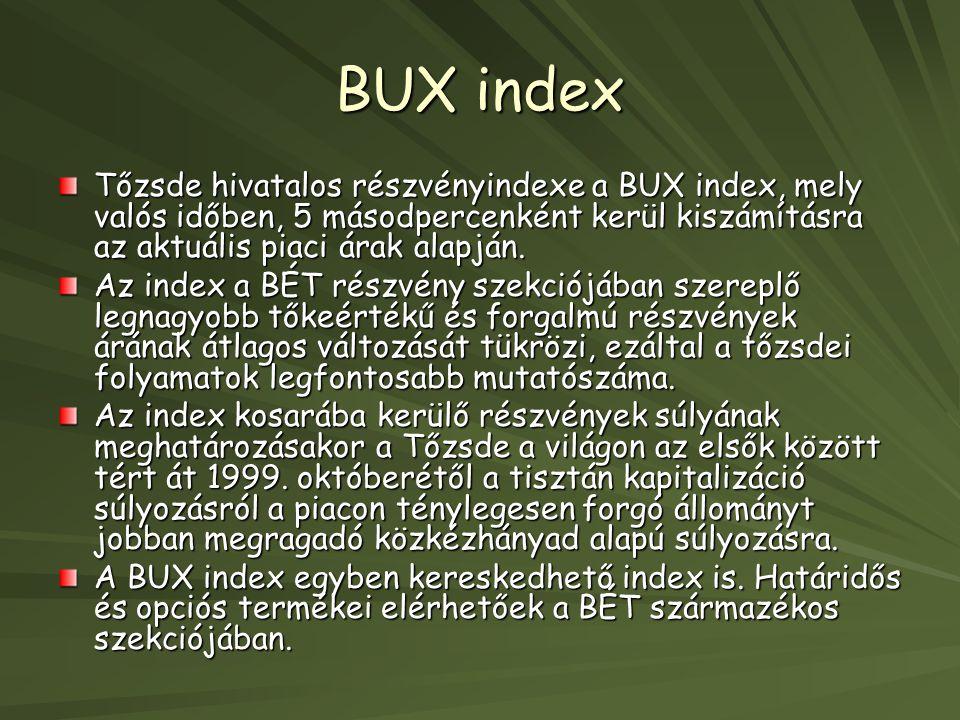 BUX index Tőzsde hivatalos részvényindexe a BUX index, mely valós időben, 5 másodpercenként kerül kiszámításra az aktuális piaci árak alapján.