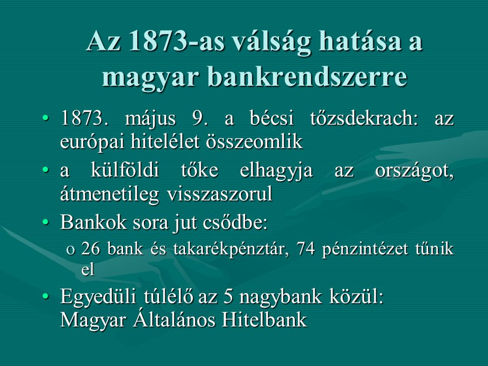 Az 1873-as válság hatása a magyar bankrendszerre