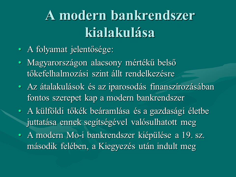 A modern bankrendszer kialakulása