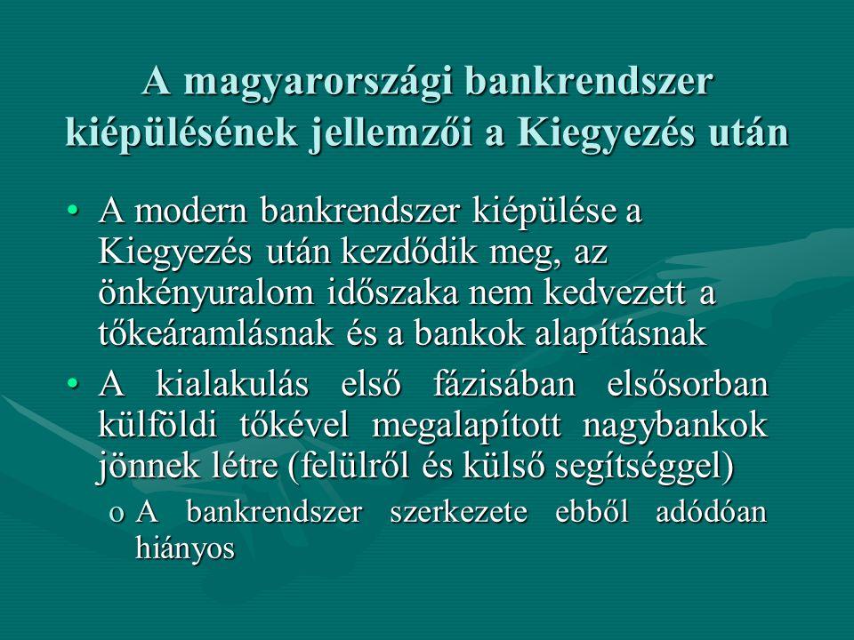 A magyarországi bankrendszer kiépülésének jellemzői a Kiegyezés után