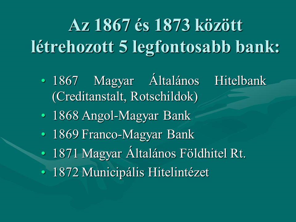 Az 1867 és 1873 között létrehozott 5 legfontosabb bank:
