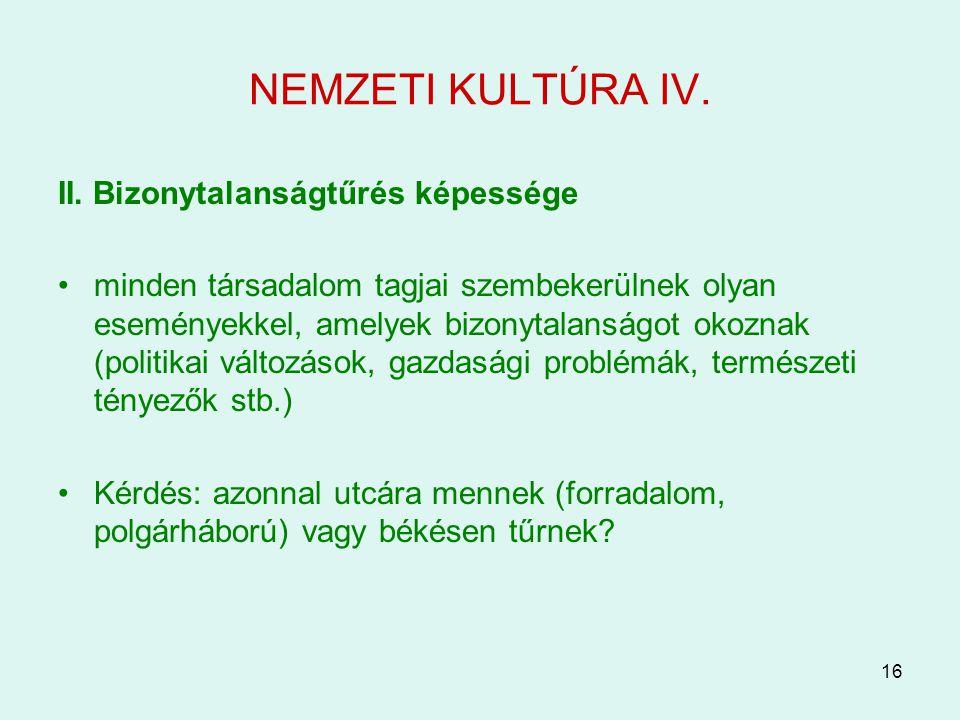 NEMZETI KULTÚRA IV. II. Bizonytalanságtűrés képessége