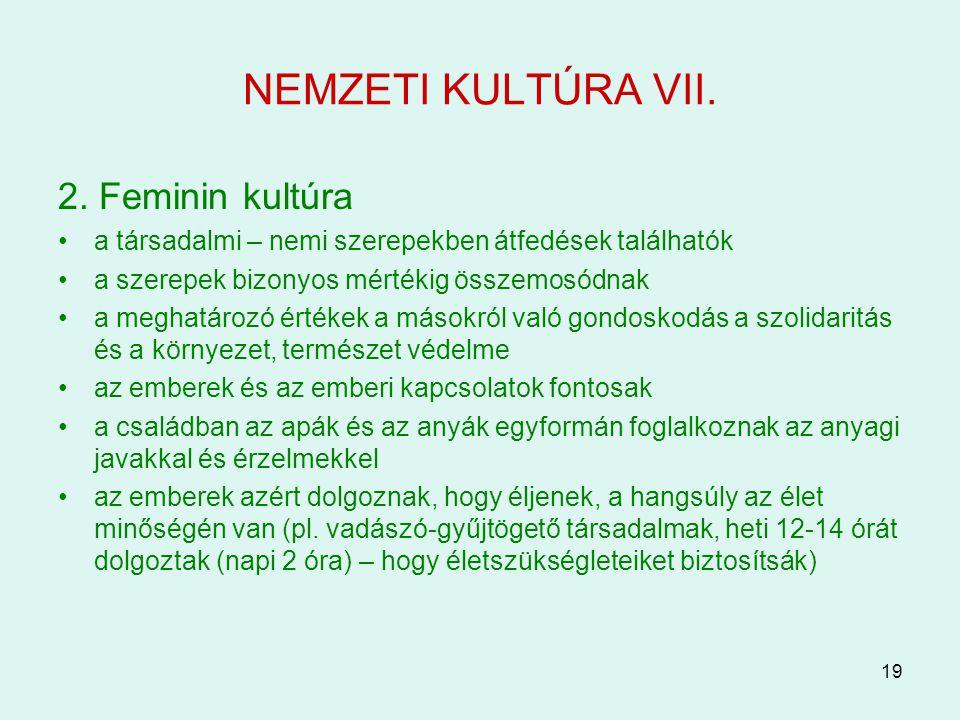 NEMZETI KULTÚRA VII. 2. Feminin kultúra